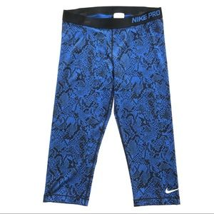 """NWOT Nike Pro 20"""" Snakeskin Cropped Capri Leggings"""